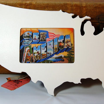 USA shaped picture frame 4x6