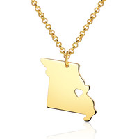Missouri State Necklace With a Heart Cut Out - State Map Jewelry
