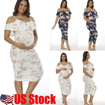 Women Cold Shoulder Ruffle Long Dress Summer Bodycon Maternity Pencil Dresses US