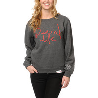 Diamond Supply Girls Diamond Life Charcoal Crew Neck Sweatshirt
