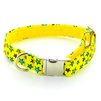 Stardog Handmade Dog Collar. Canvas Collar With Metal Buckle and Velvet Lining