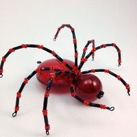 Spider Pendant - Giant Spidey - Red & Black Bead and Wire Pendant