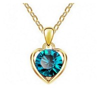 Charming Heart Shape Austria Crystal Pendant Chain Necklace