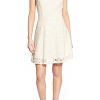 Love, Fire High Neck Crochet Skater Dress | Nordstrom