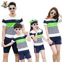 Matching Family Clothing Fashion Mother Daughter Clothes Striped T shirt Shorts Family Matching Outfits Father Son Clothes Set