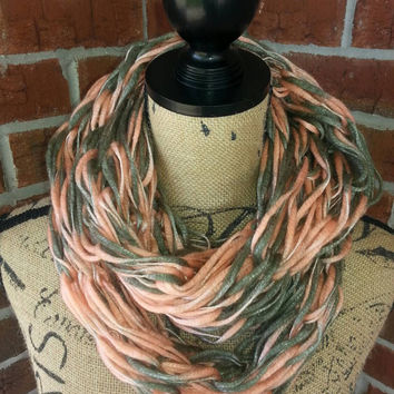 Wool Arm knitted infinity scarf, coral and gray, lightweight scarf, knit scarf, infinity scarf, Bulky arm knit scarf, fall fashion scarf