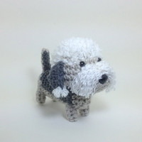 Dandie Dinmont Terrier Crochet Dog Stuffed Animal Puppy Handmade Amigurumi Doggie Plush Doll / Made to Order
