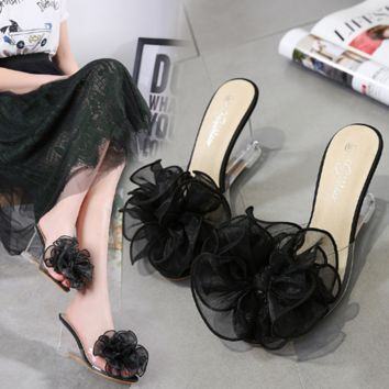 Women Summer Fashion Flower Transparent Crystal Open Toe Wedge Sandals Slippers High Heels Shoes