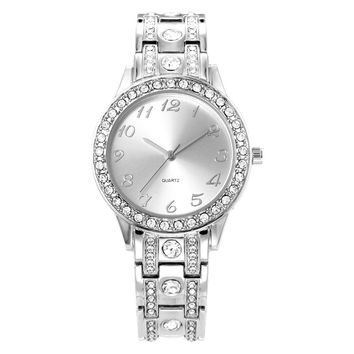 Fashion Women Watches Diamond Analog Display Stainless Steel Elegant Quartz Watch Life Waterproof Good Gift Lady Watch With Box