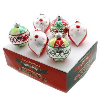 Shiny Brite HS DECORATED ROUNDS  & FIGURES Glass Snowman Holiday 4027571