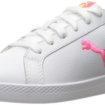 PUMA Women's Smash Cat L Wn's Fashion Sneaker Puma White-knockout Pink-safety Yellow 8