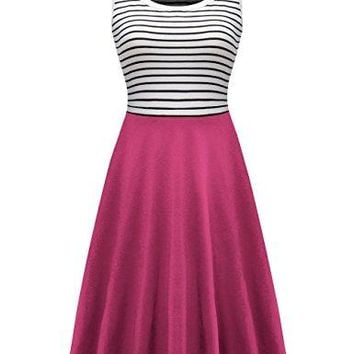 Herou Women Striped Sleeveless Soft Cotton Tank Dress