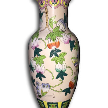 "Tall  15"" Vintage Chinoiserie Porcelain Butterfly and Floral Vase"