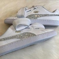 New Swarovski Women's white Puma Shoes Custom Blinged with Clear Swarovski Crystal Rhi