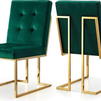 Pierre Green Velvet Dining Chair (set of 2)