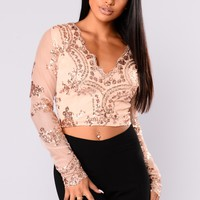 Serina Sequin Top - Rose Gold