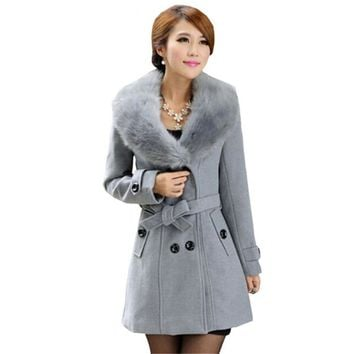Plus Size M-5XL Winter Coat Women 2017 New Fashion Slim Big Fur Collar Double-Breasted Womens Wool Blended Hot Sale