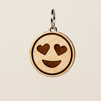 Heart Eyes Emoji Keychain - Smiling Face with Heart Shaped Eyes Emoji Carved Wood Key Ring - Love Emoji Wooden Engraved Charm