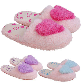Women Sweet Warm Plush Home Slippers Winter Cute Heart Patterns Slipper
