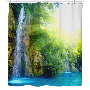 Escape Into The Wild With This Refreshing Waterfall Shower Curtain 🍃