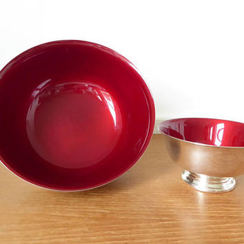 Fine quality red enameled Paul Revere silver plate bowls by Reed and Barton