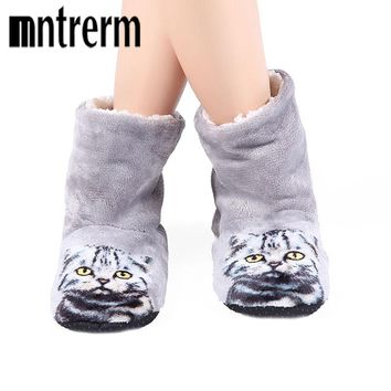 3D Cat Print Thick warm Winter Slippers