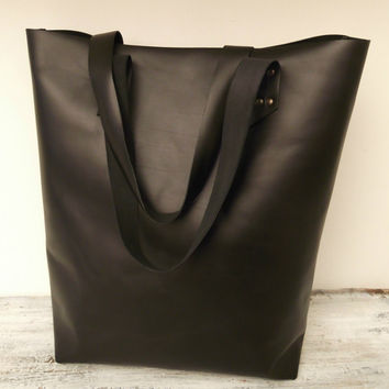 Leather Tote Bag, Black Leather Bag, Shoulder Bag, Laptop Bag, Everyday Bag, Leather Shopping Bag, Market Bag,  Full Grain Italian  Leather.