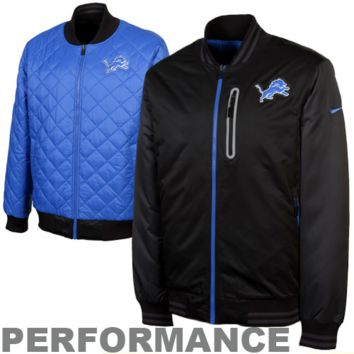 Nike Detroit Lions Sideline Destroyer Reversible Performance Jacket - Black/Light Blue