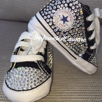 Swarovski crystal baby girl converse shoes black, bling baby converse,