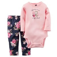 Carter's Graphic Bodysuit & Floral Pants Set - Baby Girl, Size: