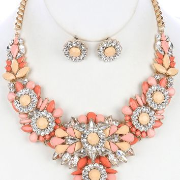 Peach Color And Clear Lucite Cluster Chunky Bib Necklace And Earring Set