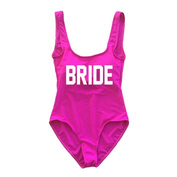 Hot Pink BRIDE One Piece Swimsuit