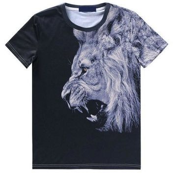 Realistic Lion Face Graphic Tee T-Shirt in Black | Gifts for Animal Lovers