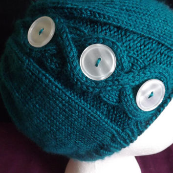 Hand-knit Medallion Cable Beanie Hat with Buttons