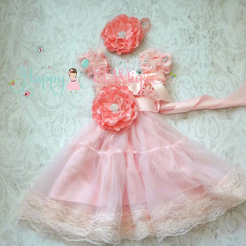 Flower girl dress, Princess Flower Pink Chiffon Lace Dress set, Girls dress, baby dress, Birthday dress,Baby Toddler,Pink dress,1st Birthday