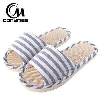 CONYMEE Summer Flats Shoes Woman Casual Sneakers Home Slippers Linen Beach Sandals Flip Flops Striped Women Indoor Slipper