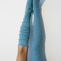 Biscay Bay Marled Cable Knit Thigh High Socks,  OTK Thigh Highs, Stockings, PM-088B
