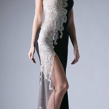 Long Appliqued Sleeveless Prom Dress with High Slit Black