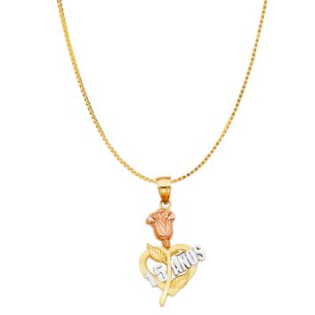 Quinceañera Rose Necklace - 14K Solid Yellow Gold