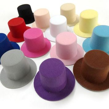12pcs/lot Plain Mini Taller Top Hat. Hen Party Mini Top hat. Children Girls Hair Fascinator Woman Hair Accessory 9cm 13 colors
