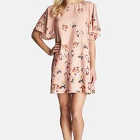 Women's CeCe by Cynthia Steffe Floral Print Flutter Sleeve Dress,