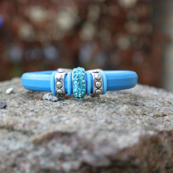 Azul blue bling bling woman bracelet, handmade, licorice, leather supplies