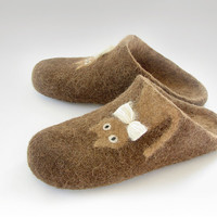 Open heel felted slippers of natural sheep and alpaca wool, chocolate brown, caramel, ready to ship, US size 7,5 / EU size 38