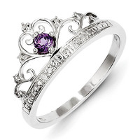 Sterling Silver Diamond And Amethyst Princess Crown Ring