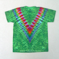 Child Large Tie Dye Shirt Green Rainbow V