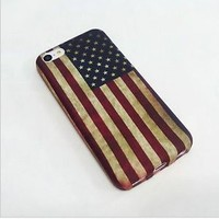 Retro United States USA American Flag Soft Style Silicone Plastic TPU case for Apple iPhone 5C