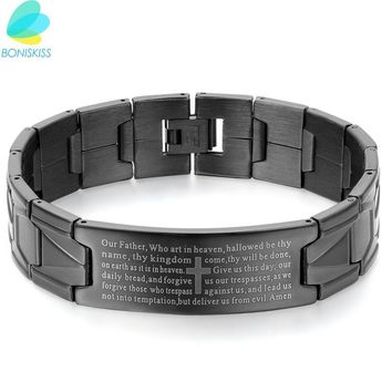Boniskiss Black Stainless Steel Jesus Cross Bracelet Men Jewelry English Lord's Prayer Bracelets & Bangles 2017 Christmas Gift