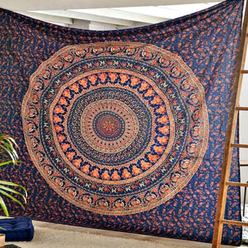 The Eberlee Large Hippie Tapestry Mandala Bohemian Elephant Bedspread Throw