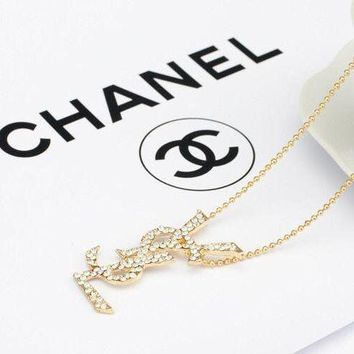 YSL Women Fashion Chain Plated Necklace Jewelry