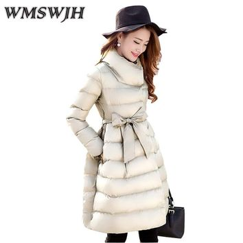 2017 Women Winter Down Cotton Coat Fashion Leisure Big yards Female Wadded Jacket Pure color lace-up New Thick Long Parka WS328